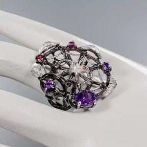 Amethyst & Garnet Sterling silver spiderweb ring